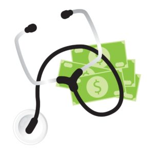 Money And Stethoscope Workers Comp Program Graphic