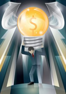 Graphic Of Man Workers Compensation Reserves Carrying big Light Bulb With Dollar Sign
