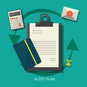 Graphic Of Paper Letter Notes And Calculator Audit Process Plan