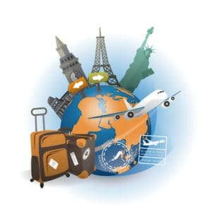 Graphic Of Airplane And Suit Case Travel and Expense Charges Different Country On Globe