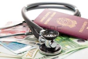Picture of passport money and stethoscope charges to reserves
