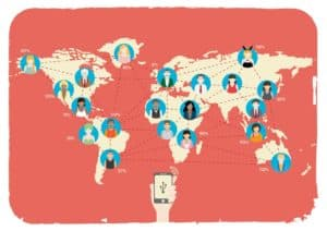 Map With Social Networking Websites People Icon