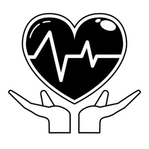 Vector Graphic Of Hand Carrying Heart MSA Claims With HeartBeat