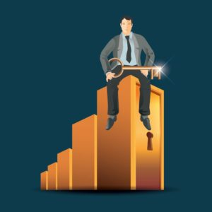 Graphic Of Man Sitting On Bar graph Named As Rebaters Holding Key