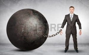 Clipart of man chained wrecking ball Workers Compensation Crimes Rebating Company