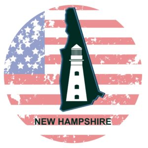 Map Of New Hampshire  With Tower Independent Contractors On Circle USA Flag Background