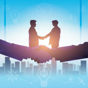 Picture Of Two Man Insurance Carrier Shaking Hand Meeting In Sunset Spot