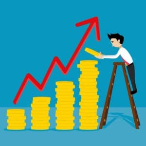 Vector Graphic Of Man On Ladder Fixing Sole Proprietor Covers Gold Coins Increase