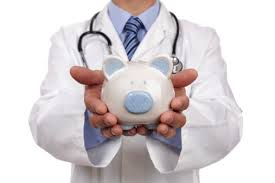 Picture of Physician carrying a Piggy Bank Medicare Set-Asides Concept