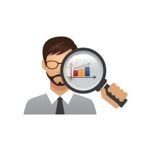 Graphic Of Man Holding Magnifying Glass California Workers Comp System With Bar Graph