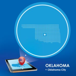 Map Of Oklahoma Feds Crack On Tablet Location Icon