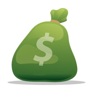 Graphic Of Sack Of Money Excess Loss Color Green