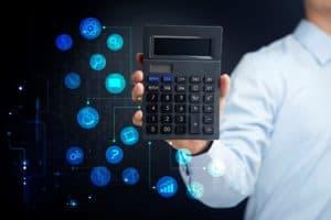 Man Holding Disfigurement Benefits Calculator With Scientific Icons