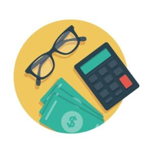 Graphic Of Calculator Workers Comp Manual Rate And Money With Eye Glass