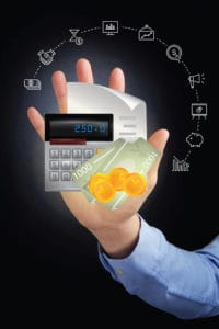 Picture of Hand Presenting Premium Calculation Experience Period With Various Icon
