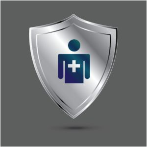 Graphic Of Grey Shield Health Insurance Icon Inside