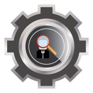 Graphic of gear Hiring A Workers Comp With Magnifying Glass