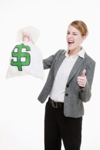 Picture Of Woman Holding Sack of Money NCCI Workers Comp Costs Thumbs Up