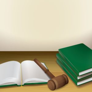 Vector Graphic Of Gavel and books Workers Comp Policy On Table