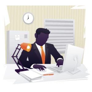 Graphic Picture Hardworking Businessman Rent-A-Captives Concept