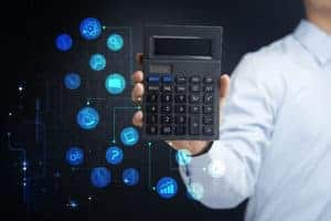 Picture Of Man Holding Calculator With Reserve Reduction Program Icon