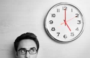 Businessman Looking Time Bomb Clock