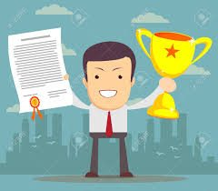 Vector Graphic of Certificate Holder With Trophy