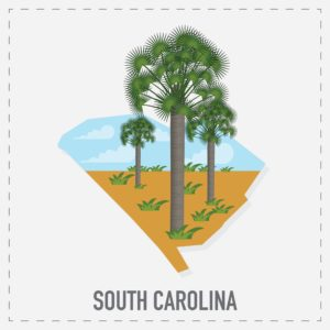 Map Of South Carolina Independent Contractors With Trees Graphic