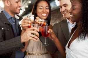 Business Friends Subrogation Toasting At Bar