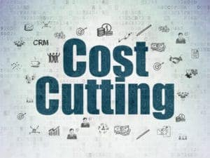 Graphic of RTWP cost cutting in  blue printed digital paper