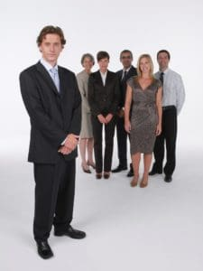 Group Of Employee Case Management Standing