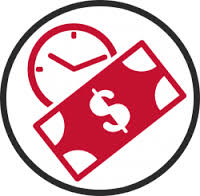 Vector Icon of Total Disability Period Clock And Dollar