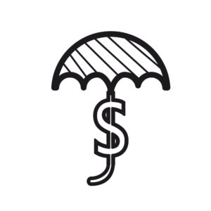 Vector Of Umbrella Agency Captive With Dollar Sign