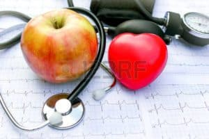 Picture of apple and heart with stethoscope Functional Capacity Evaluation Frequency on Table