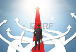 Graphic of Man On Straight Red Arrow Strategic Risk Management With other White Arrow