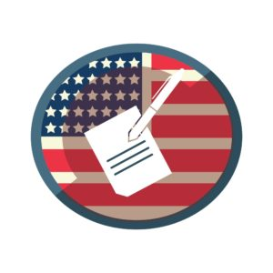 Graphic Of Papers And Pen Adjudication Of Claim With USA Flag Background