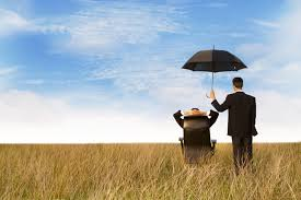 Picture of Man on Chair And Man standing Carrying Umbrella Associate in Reinsurance In Field Background