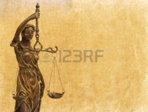 Graphic of Lady Justice Manuscript Policy Individually Designed