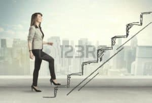 Picture of Woman Stair Step reserving Workers Comp Concept