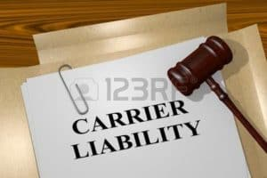 Graphic of Gavel And Carrier Liability Document Four Workers Compensation Concept