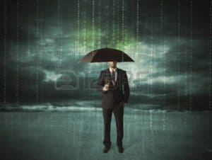 Graphic of Employee With Umbrella workers compensation Safety Programs Under The Rain