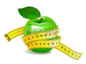 Graphic of Green Apple With Tape Measure Success Measurements Concept