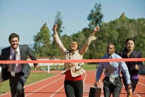 Picture Of Workers Comp Success Crossing The Winning  line
