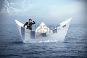 Graphic Of Big Paper Boat With Man Inside MSA Crisis On Ocean