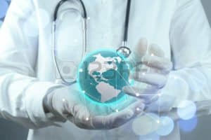 Picture Of Physician With Computerize Globe On Hand (MSA) Rules Concept