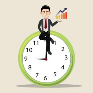 Vector Graphic Of Businessman Sitting On Big Clock With XMods EMods EMR Bar Graph On Hand