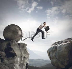 Picture Man Jumping Rocks Wrecking Ball Failure Spiral