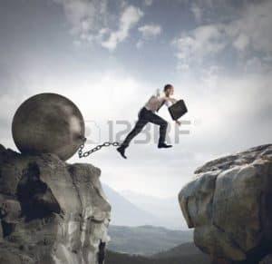 Picture Man Jumping Rocks Wrecking Ball Failure Spiral