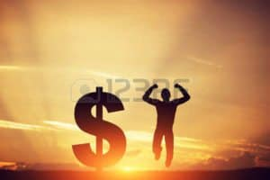 Picture of Sunset Five Ways Shadow Dollar sign and Man