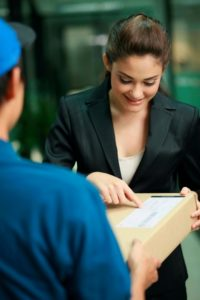 Picture Of Woman Receiving Package 8742 Class Code With Messenger